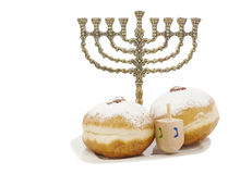 Happy holiday of Hanukkah. Menorah, donuts and dreidel are traditional Jewish attributes for holiday of Hanukkah Royalty Free Stock Photography
