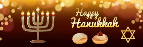 Happy holiday hanukkah banner, realistic style royalty free illustration