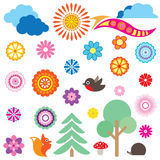 Happy holiday icon set. Nature symbol collection Stock Photos