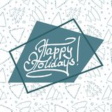 Happy holiday lettering on asymmetric background. With border and cute fir-trees seamless pattern. Grey blue outline. Vector illustration Royalty Free Stock Photos