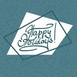 Happy holiday lettering on asymmetric background. With border and cute fir-trees seamless pattern. Grey blue outline. Vector illustration Royalty Free Stock Image