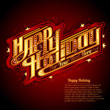 Happy Holiday lettering with neon outline american retro style Royalty Free Stock Photo