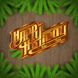 Happy holiday lettering on vintage wood background with fir tree royalty free illustration