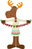 Happy Holiday Moose Icon. Cute cartoon moose holding a Happy Holidays sign. Eps10 Royalty Free Stock Photography