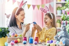 Family preparing for Easter Royalty Free Stock Photos