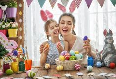 Family preparing for Easter Stock Images