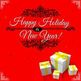 HAPPY HOLIDAY AND NEW YEAR CARD... Stock Photos