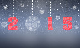 2015 happy holiday. 2015 New Year. Happy holidays from the premise of snowflakes. Schematic diagram of the greetings of the season. Illustration Stock Photography