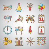 Happy Holiday New Year Icon. Happy New Year icon set,  easy to edit and change colour Stock Image