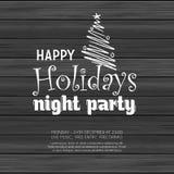 Happy Holiday night party wood background stock illustration