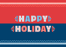 Happy holiday poster. Happy Holiday cute fancy colorful letters. Invitation card headline text design element. Typographic playful poster concept. Red, blue Royalty Free Stock Images