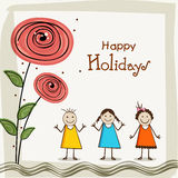 Happy holiday poster with little cute girls. Stock Image