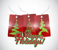 Happy holiday red tree tag signs Stock Photography