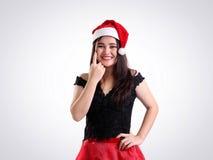 Happy holiday season fashion model stock image