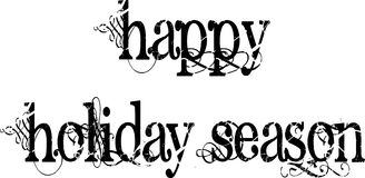 Happy Holiday Season Words Greeting Decorated With Black Scrolls Stock Photography