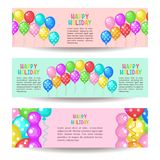 Happy Holiday. Set Of Greeting Banners. Multi-colored Balloons. Royalty Free Stock Photo