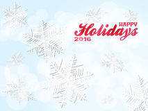 Happy holiday 2016 snowflakes background. Happy Holiday 2016 Text Over Light Blue Background with Snowflakes Royalty Free Stock Image
