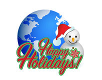 Happy holiday snowman globe sign Stock Photos