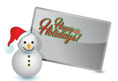 Happy holiday snowman and sign Royalty Free Stock Photos