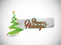 Happy holiday tree and paper sign Royalty Free Stock Images