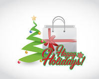 Happy holiday tree and present Stock Photography