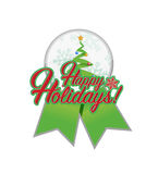 Happy holiday tree ribbon illustration Royalty Free Stock Photography