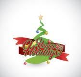 Happy holiday tree ribbon sign Royalty Free Stock Photo