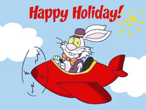 Happy holiday from white easter rabbit Stock Image