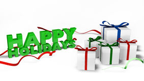 Happy Holiday wishes with gift boxes Stock Photo