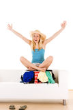 Happy holidaymaker on case Royalty Free Stock Images