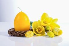 happy holidays Κερί αυγών Πάσχας και daffodils Στοκ εικόνα με δικαίωμα ελεύθερης χρήσης