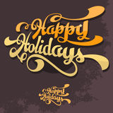 happy holidays Συρμένη χέρι εγγραφή χειρογράφων βουρτσών με τους σπινθήρες Β Στοκ Φωτογραφίες