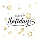 happy holidays Όμορφα ευχετήριων καρτών χρυσά αστέρια λέξης κειμένων καλλιγραφίας μαύρα Συρμένη χέρι τυπωμένη ύλη μπλουζών πρόσκλ ελεύθερη απεικόνιση δικαιώματος