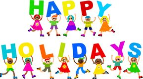 Happy holidays. A group of cute and diverse children holding up letters to form the greeting HAPPY HOLIDAYS vector illustration