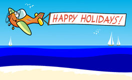 Happy holidays!. Vector illustration depicting an airplane moving in the sky a white banner. The plane flies over a beach, you see sailboats on the horizon and Royalty Free Stock Photography