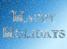 Happy Holidays. 3D Happy Holidays rendered with ice texture with snow accents vector illustration
