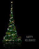 Happy Holidays. Abstract  illustration of a christmas tree over a black background Royalty Free Stock Photography