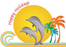 Happy Holidays. A vacation at the beach side stock illustration