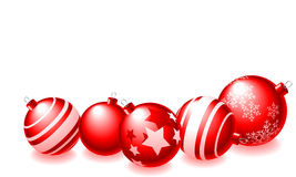 Happy Holidays. Abstract  illustration of red christmas balls over a white background Stock Image