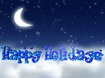 Happy Holidays. Moon and Stars with caption Happy Holidays vector illustration
