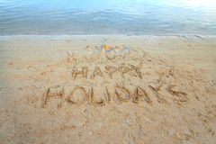 HAPPY HOLIDAYS. Thanks - we had ... :-) Image taken at Muri lagoon, Rarotonga, Cook Islands, in the evening Royalty Free Stock Photo