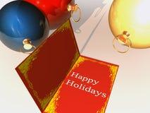 Happy holidays. Greetigg card on table with christmas balls Stock Images