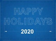 Happy Holidays 2020 Blueprint Royalty Free Stock Photography