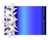 "Happy Holidays. Blue holiday border with white pine boughs, ferns, and pinecones along with the words ""Happy Holidays Stock Photo"