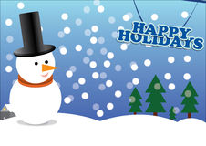 Happy holidays. A holidays scene illustration with a snowman while snow is falling Royalty Free Stock Photos