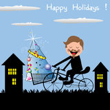 Happy Holidays. Abstract colorful illustration with a happy young man carrying on his bicycle a Christmas tree. Winter holidays concept Royalty Free Stock Photo