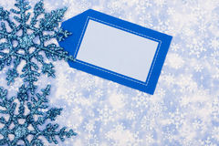 Happy Holidays. Blank card on blue snowflake background, happy holidays Stock Photo