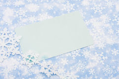Happy Holidays. Blank card on blue snowflake background, happy holidays Royalty Free Stock Images