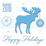 Happy Holidays. Abstract colorful background with snowflakes, blue reindeer and the text Happy Holidays written with handwritten letters Stock Image