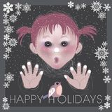Happy Holidays. Adorable girl looking at bird on cold winter day pressing nose and fingers against window glass. Happy new year concept. Holidays greeting card Royalty Free Stock Image